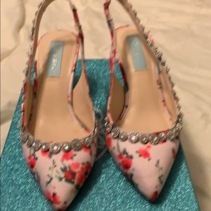 Betsey Johnson floral jeweled pumps
